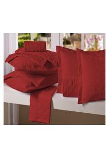 Porta Travesseiro 50Cm X 70 Cm Microfibra Vermelho