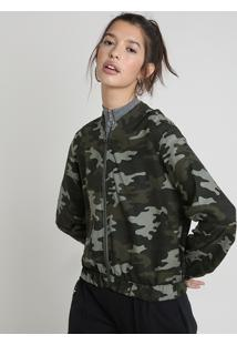 Blusão Feminino Estampado Camuflado Verde Militar