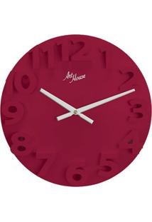 Relógio De Parede Números Grandes Vermelho 30 Cm