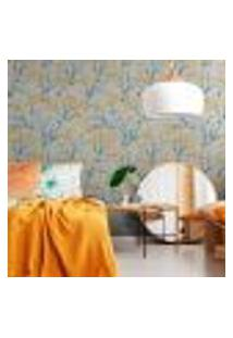 Papel De Parede Para Sala Floral Amarelo (300 X 100 Cm)