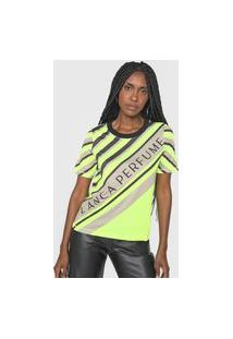 Camiseta Lança Perfume Logo Listras Amarela/Marrom