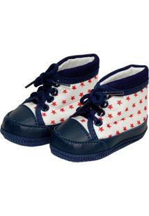 Tênis Cano Alto Star Sapatinhos Baby Azul Marinho, Branco E Vermelho