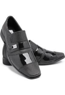 Sapato Social Masculino Bico Quadrado Confortável Verniz - Masculino-Preto