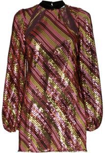Rixo Vestido Harriet Com Recorte Vazados E Paetês - Metálico