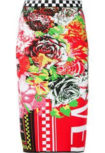 Versace Saia Lápis Estampada - Vermelho