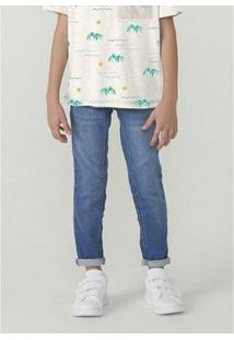 Calça Masculina Infantil Em Jeans Skinny - Masculino-Azul