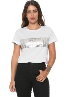 Camiseta Lança Perfume Metalizada Branca/Prata