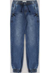 Calça Jeans Juvenil Jogger Com Cordão Azul Médio