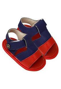 Sandália Bebê Masculina Azul Marinho E Vermelha Com Velcro (P/M/G) - Tico'S Baby - Tamanho G - Azul Marinho,Vermelho