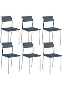 Cadeira 1709 Cromada 06 Unidades Azul Noturno Carraro