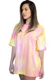 Camiseta Boutique Judith Tie Dye Galaxy Pink Yellow Amarelo - Kanui