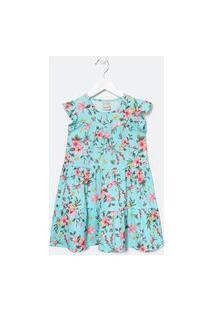 Vestido Infantil Estampa Floral - Tam 5 A 14 Anos | Fuzarka (5 A 14 Anos) | Azul | 7-8