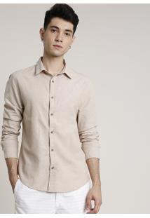 Camisa Masculina Tradicional Com Linho Manga Longa Bege