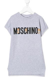 Moschino Kids Vestido Com Logo - Cinza