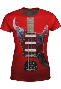 Camiseta Baby Look Guitarra Fender Over Fame Vermelha