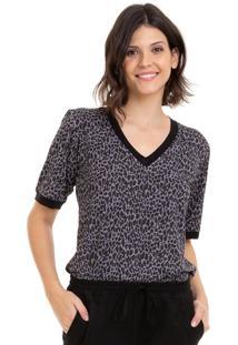 Camiseta Aura Manga Bufante Onça Cinza