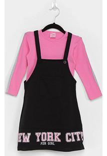 Vestido Infantil For Girl Salopete Com Blusa Manga Longa - Feminino
