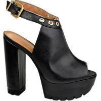 14b86a3df Ankle Boot Open Couro Vizzano Feminina - Feminino-Preto