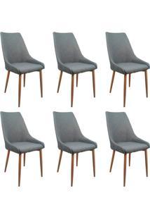 Conjunto Com 6 Cadeiras Anivia Cinza