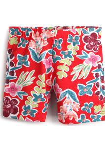 Bermuda Fakini Menina Floral Vermelho