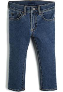 Calça Jeans Gap Infantil Pespontos Azul