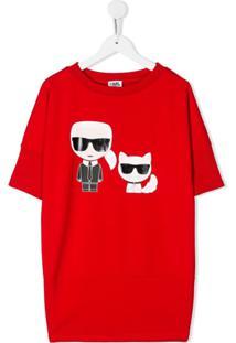 Karl Lagerfeld Kids Vestido Karl & Choupette - Vermelho