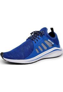 Tênis Masculino Esportivo Macio Caminhada Conforto Dia A Dia - Masculino-Azul