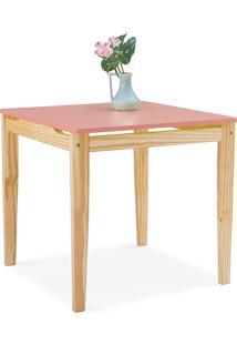 Mesa Para Sala De Jantar Tucupi 80X80X76Cm - Acabamento Stain Natural E Rosa Coral
