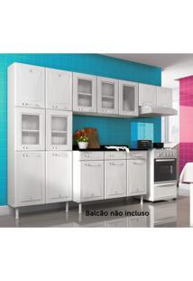 Cozinha Compacta 3 Peças 5 Portas De Vidro Sem Balcão Star Telasul Branco