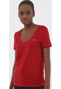 Camiseta Lacoste Logo Vermelha - Vermelho - Feminino - Algodã£O - Dafiti