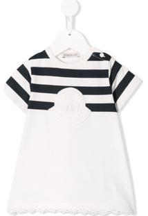 Moncler Kids Vestido Jersey Com Detalhe De Listras - Branco