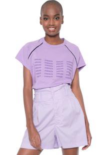 Camiseta Colcci Ampla Lettering Lilás