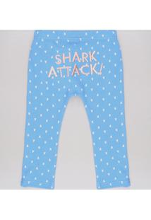 """Calça Infantil """"Shark Attack"""" Estampada De Tubarões Azul"""