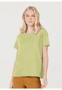 Camiseta Hering Básica Manga Curta Em Algodão Pima Verde