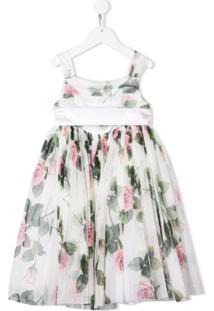 Dolce & Gabbana Kids Vestido Com Estampa De Rosas - Branco
