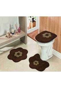Kit 3Pçs Banheiro Formato Standard Margarida Cafe