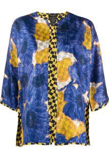 Etro Casaco De Seda Com Estampa Floral - Azul