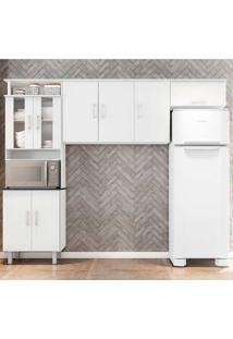 Cozinha Compacta Suíça 3 Peças Com Vidro - Poliman - Branco