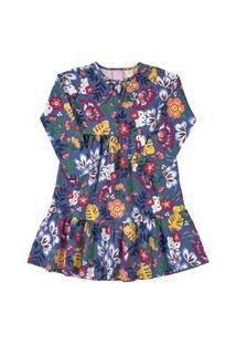 Vestido Manga Longa Em Cotton Hello Kitty Floral Marinho