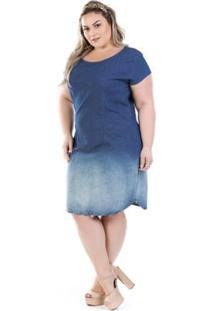 f59daed3a3 Vestido Jeans Confidencial Extra Vinil Plus Size Feminino - Feminino-Azul