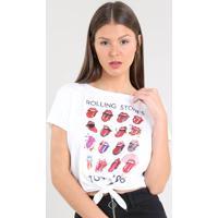 ba504562f5 Blusa Feminina The Rolling Stones Com Nó Manga Curt Decote Redondo Off White