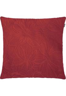 Capa Para Almofada Veludo Floral 45Cmx45Cm Vermelho