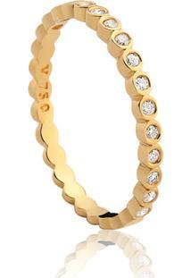 Meia Aliança Ouro Amarelo E Diamante