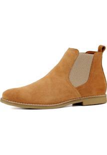 Bota Chelsea Masculina Mr Shoes Camurça Caramelo