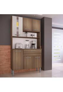 Cozinha Melissa 0282 6 Portas C/ Tampo – Genialflex - Castanho / Mel