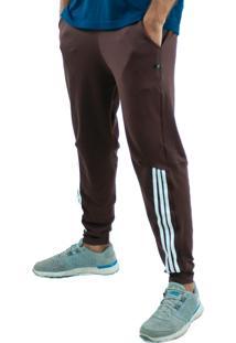 Calça Suplex Aveludada Bravaa Modas Listras Laterais Skinny Slim 310 Marrom