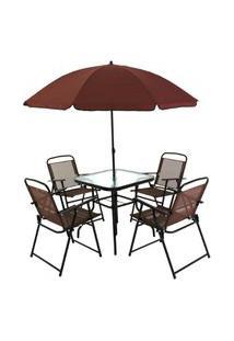 Conjunto Para Jardim Bel Lazer 85200 Miami Mesa Com 4 Cadeiras E Ombrelone Café