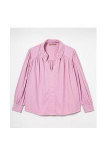 Camisa Manga Longa Em Sarga Com Decote V E Franzidos Curve & Plus Size | Ashua Curve E Plus Size | Roxo | Gg