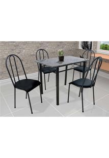 Conjunto De Mesa Com 4 Cadeiras Genebra Couro Sintético Preto