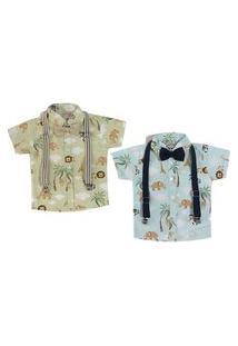 Kit 2 Camisas Curta Com Suspensório E Gravata Mabu Denim Azul/Verde